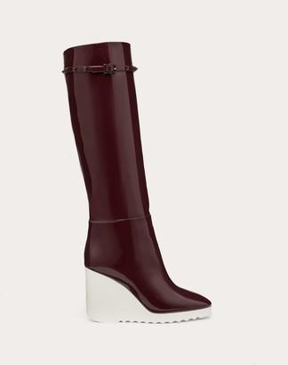 Valentino White Wave Patent Leather Boot 100 Mm / 3.9 In. Women Rubin 100% Pelle Di Vitello - Bos Taurus 37