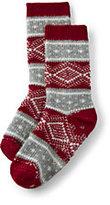 Classic Boys Holiday Slipper Socks-Rich Red Geo Fairisle