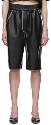 Nanushka Black Vegan Leather Yolie Long Shorts