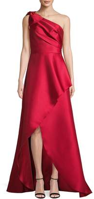 Adrianna Papell One-Shoulder Cascading Gown