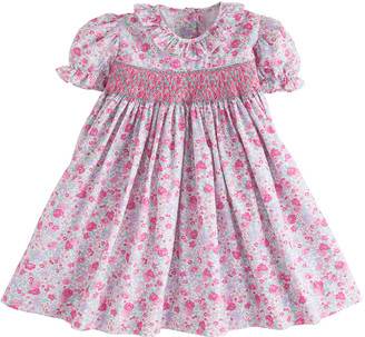Little English Girl's Smocked Floral Ruffle-Trim Dress, Size 12M-8