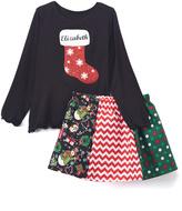 Beary Basics Black Stocking Personalized Tee & Red Skirt - Toddler & Girls