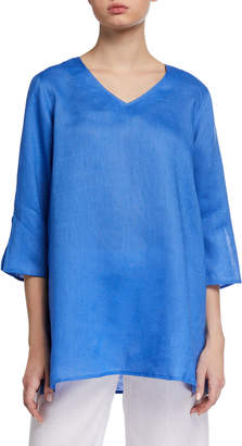 Caroline Rose Tissue Linen V-Neck Easy Tunic