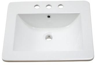 "American Imaginations 21"" Single Bathroom Vanity Top Hardware Finish: Brushed Nickel, Faucet Mount: 4"" Off Center"