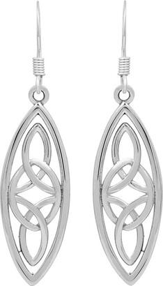 Celtic Solid .925 Sterling Silver Knot Plain Silver Dangle Earrings for Women