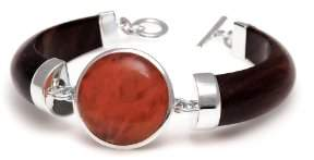 The Branch Jewellery Gold Plated Rosewood Bracelet with Round Cherry Quartz Stone of 18cm