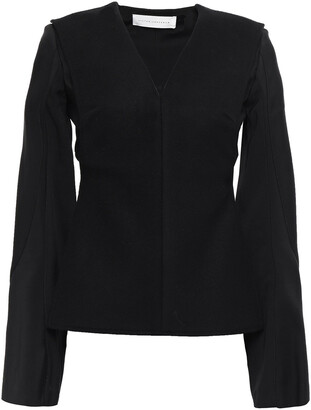 Victoria Beckham Cutout Cady-paneled Brushed-wool Blouse