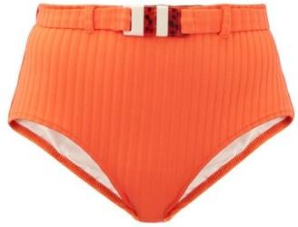 Solid & Striped The Ginger High-rise Ribbed Bikini Briefs - Orange