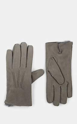 Barneys New York Men's Fur-Lined Suede Gloves - Gray