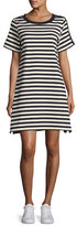 Moncler Short-Sleeve Striped Two-Tone Shift Dress, Cadet