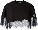 McQ by Alexander McQueen lace hem cropped blouse - women - Cotton/Polyamide/Polyester - S