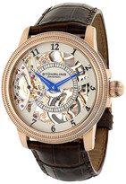 Stuhrling Original Men&s Brumalia Automatic Alligator Embossed Genuine Leather Strap Watch