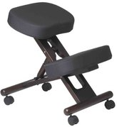 Office Star Work Smart Ergonomically Designed Knee Chair with Casters, Memory Foam and Espresso Finished Wood