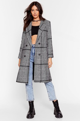 Nasty Gal Womens Ask for the Cheque Check Longline Coat - Black