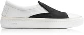N°21 Black Satin & White Leather Slip-on Sneaker