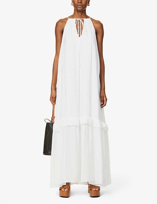 STAUD Ina tiered woven maxi dress