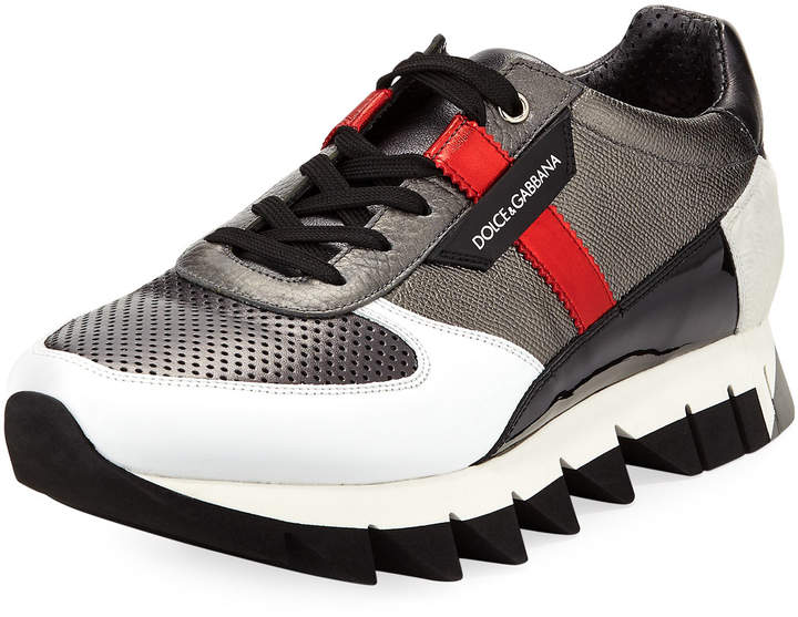 Dolce & Gabbana Chunky Mixed Leather Sneaker, Gray