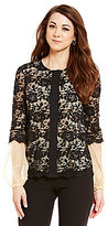 Antonio Melani Ingrid Crew Neck Long Sleeve Lace & Organza Blouse