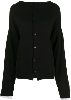 Y's Front-Buttoned Cardigan With Extra-Long Sleeves