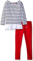 Nautica Big Girls' Striped Knit Top with Bow and Fashion Leggings Set