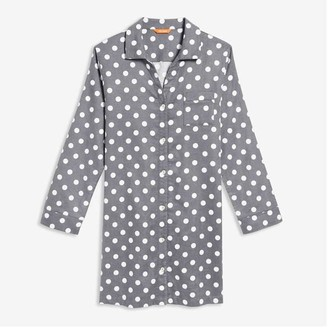 Joe Fresh Women's Dot Flannel Nightshirt, Slate Grey (Size S)