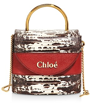 Chloé Aby Lock Lizard Embossed Leather Crossbody