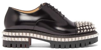 Christian Louboutin Kings Road Studded Leather Oxford Shoes - Womens - Black