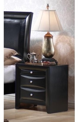 Simple Relax Briana 2-drawer Nightstand with Tray Black