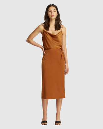 FRIEND of AUDREY - Women's Brown Midi Dresses - Suri Satin Tie Dress - Size One Size, 12 at The Iconic