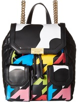 Moschino Cow and Pied De Poule Print Backpack ) Backpack Bags