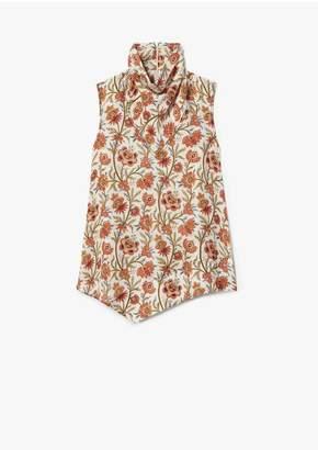 Derek Lam Indian Floral Sleeveless Scarf Neck Handkerchief Blouse