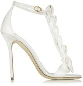 Olgana Paris La Delicate White Satin T-Strap Sandal