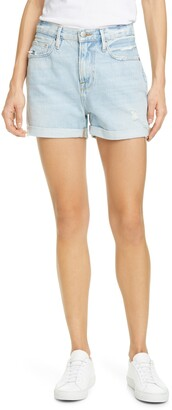 Frame Le Beau Distressed Denim Boyfriend Shorts