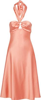 Jonathan Simkhai Ring-embellished Satin Halterneck Dress