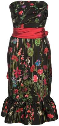 Marchesa Floral Print Bandeau Dress