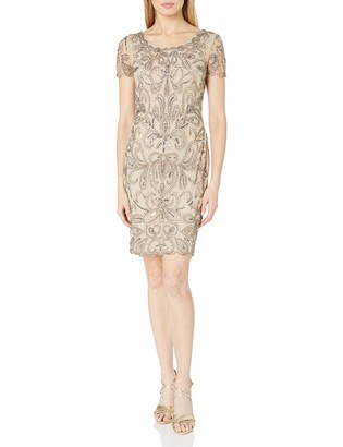 Adrianna Papell Women's Short Sleeve Scoop Neck Cocktail Dress