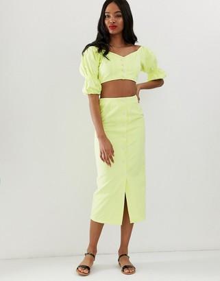 Asos DESIGN denim co-ord button through midi skirt in washed neon lime