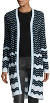 M Missoni Long Cotton-Blend Zigzag Cardigan, Black