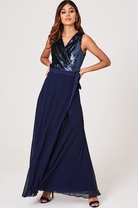 Little Mistress Josie Navy Sequin Maxi Wrap Dress