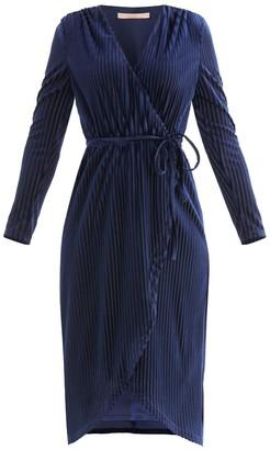 Paisie London Striped Velvet Wrap Dress In Navy