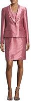 Albert Nipon Satin Single-Button Jacket w/ Skirt, Pink
