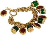 One Kings Lane Vintage Chanel Gripoix Charm Red/Green Bracelet