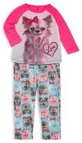 Petit Lem Little Girl's Two-Piece Roundneck Top & Pajama Pants Set