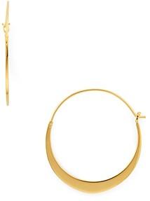 Argentovivo Flat Hoop Earrings in 18K Gold-Plated Sterling Silver