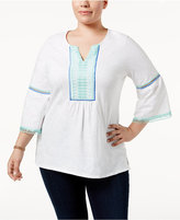 Charter Club Plus Size Lace-Trim Top, Created for Macy's