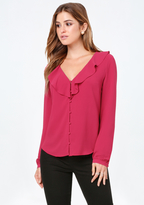 Bebe Ruffle Neck Button Top