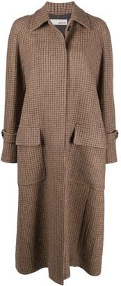 Lardini Check Print Long Coat