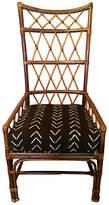One Kings Lane Vintage Palacek Rattan Chair - Mudcloth Seat