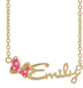 JCPenney FINE JEWELRY Disney Personalized Minnie Mouse 10K Gold/Sterling Silver & Enamel Name Necklace