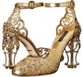 Dolce & Gabbana Laser Cut Patent Leather Mesh w/ Metal Heel Women's Shoes